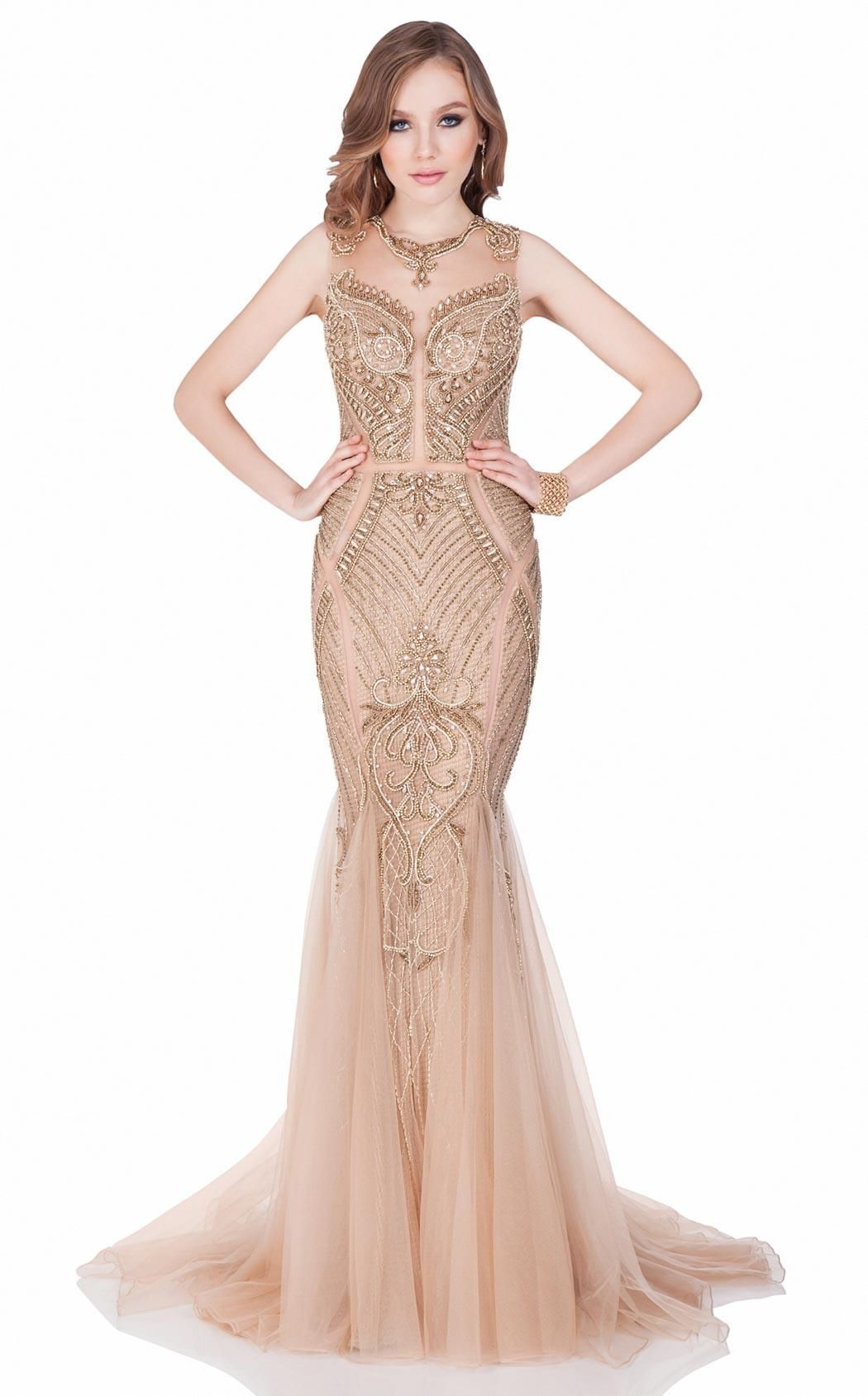 42d02eac0c9 Terani Couture Bronze Nude Illusion Evening Gown