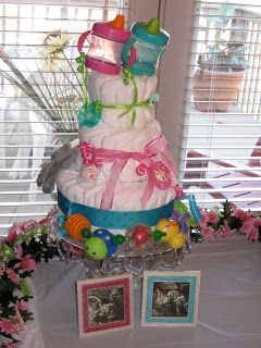 The Bean Sprout Notes: No Roll Diaper Cake Tutorial