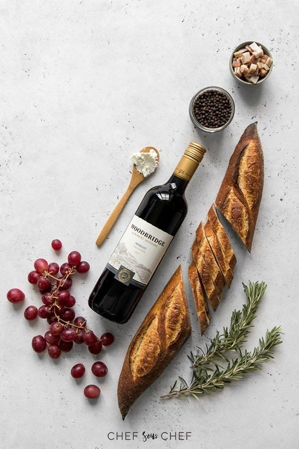 Wine and baguette flat lay. #wine #winelovers #cookingwithwing #baguette