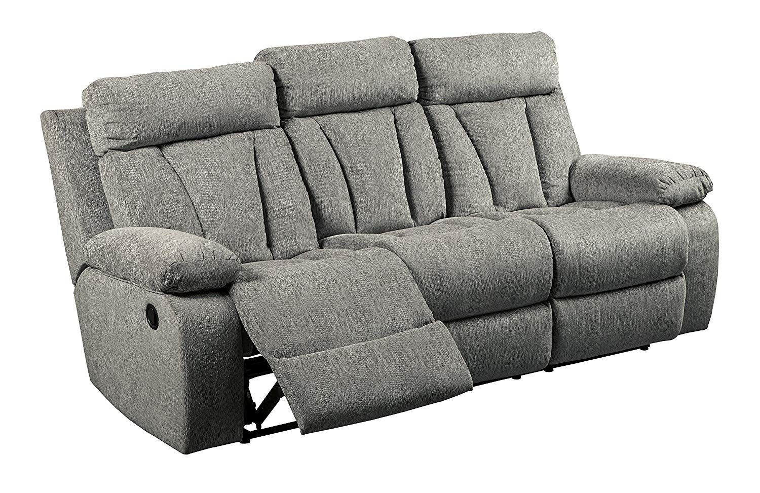 Signature Design By Ashley 7620489 Mitchiner Reclining Sofa With Drop Down Table Fog Hope You Reclining Sofa Ashley Furniture Living Room Deep Seated Couch