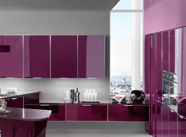Purple Anemone color in modern kitchen cabinet storage solution - Color  Trends 2015