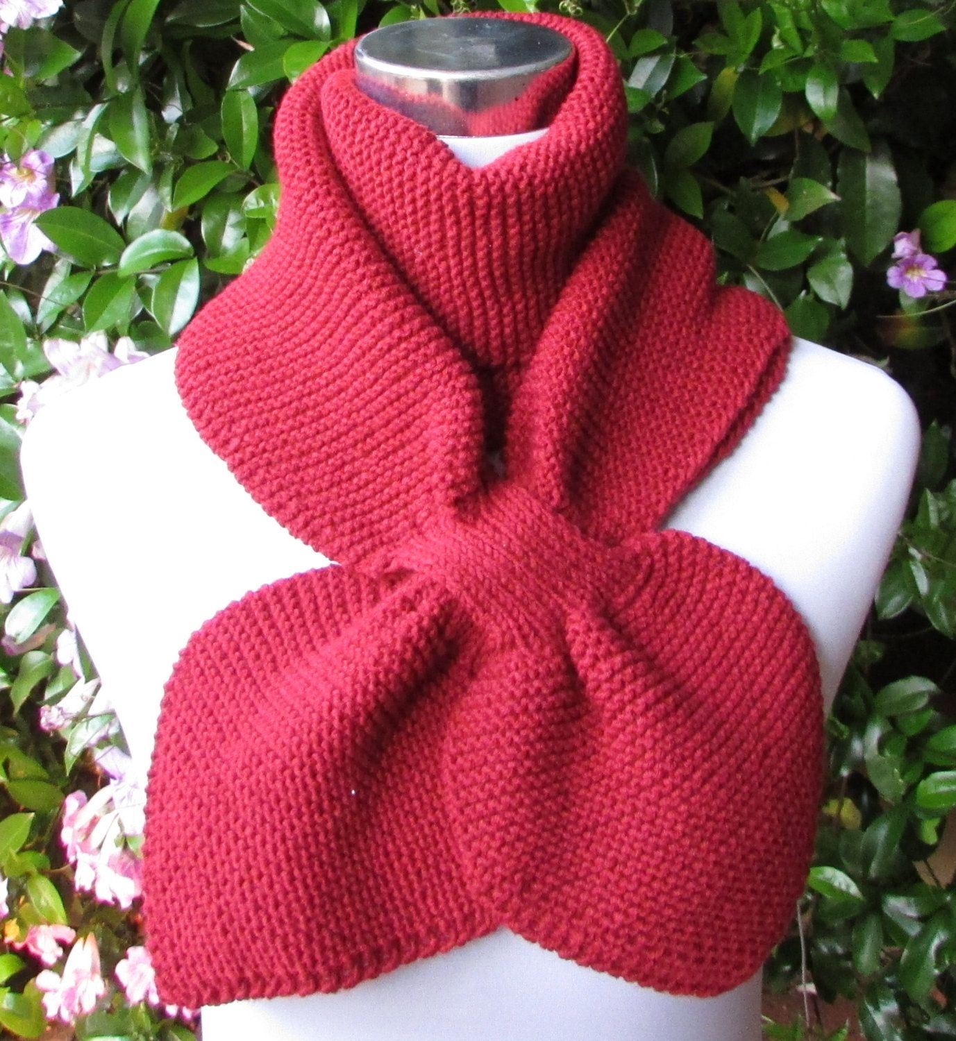 Knitting Pattern PDF Double Loop Keyhole Scarf Knitted Cowl Neck ...