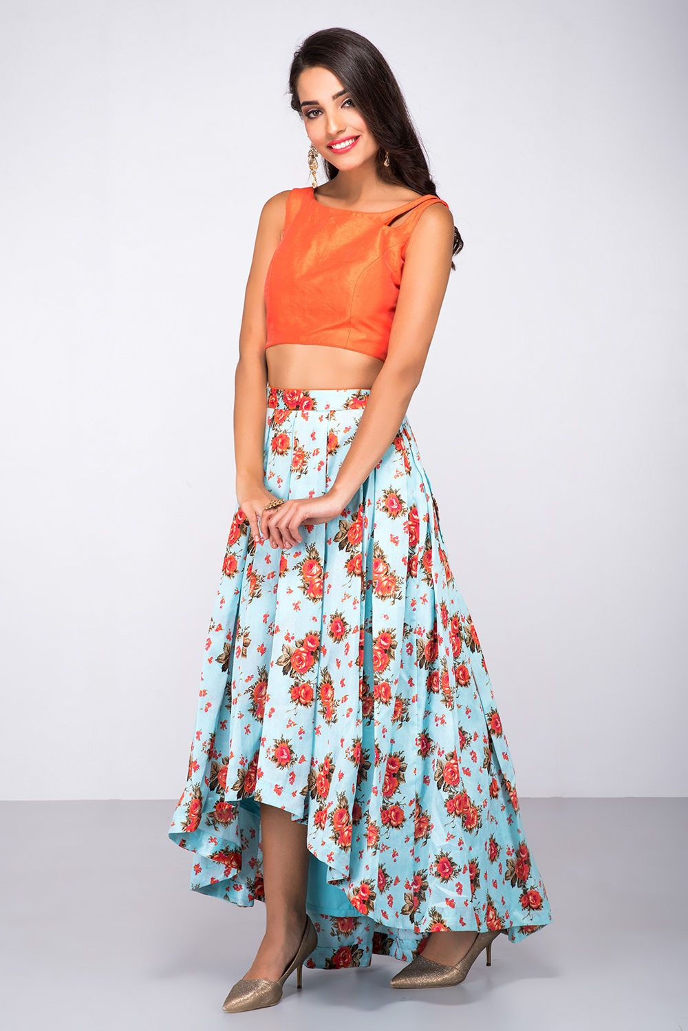 70a687ce16a6e Rent ANISHA SHETTY - Orange Crop Top With Blue FLoral Printed Skirt