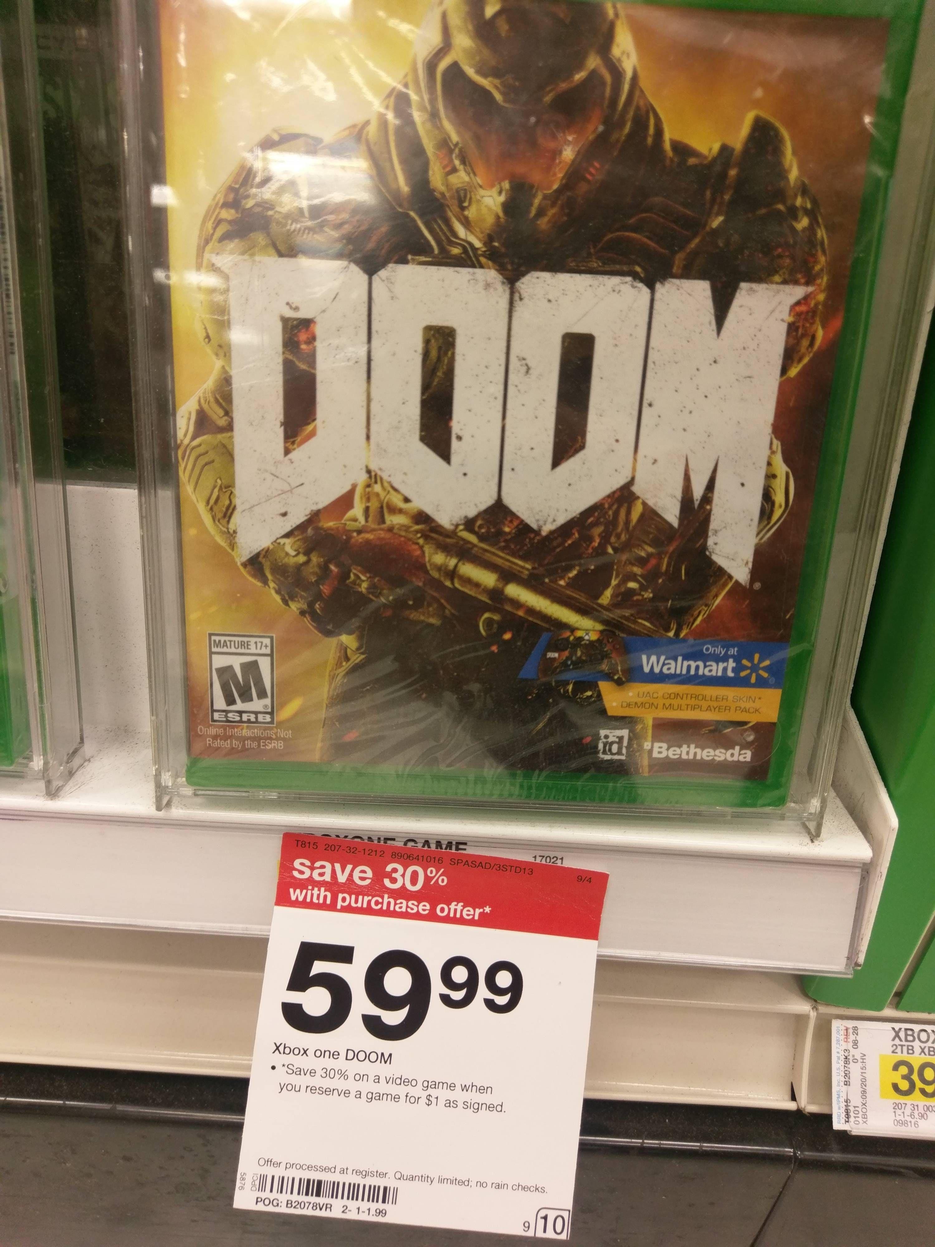 My Local Target has the Walmart Exclusive Edition of Doom