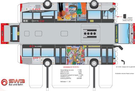Basteln papier bus aus Bau Dir