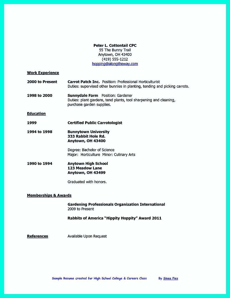 resume for work immersion