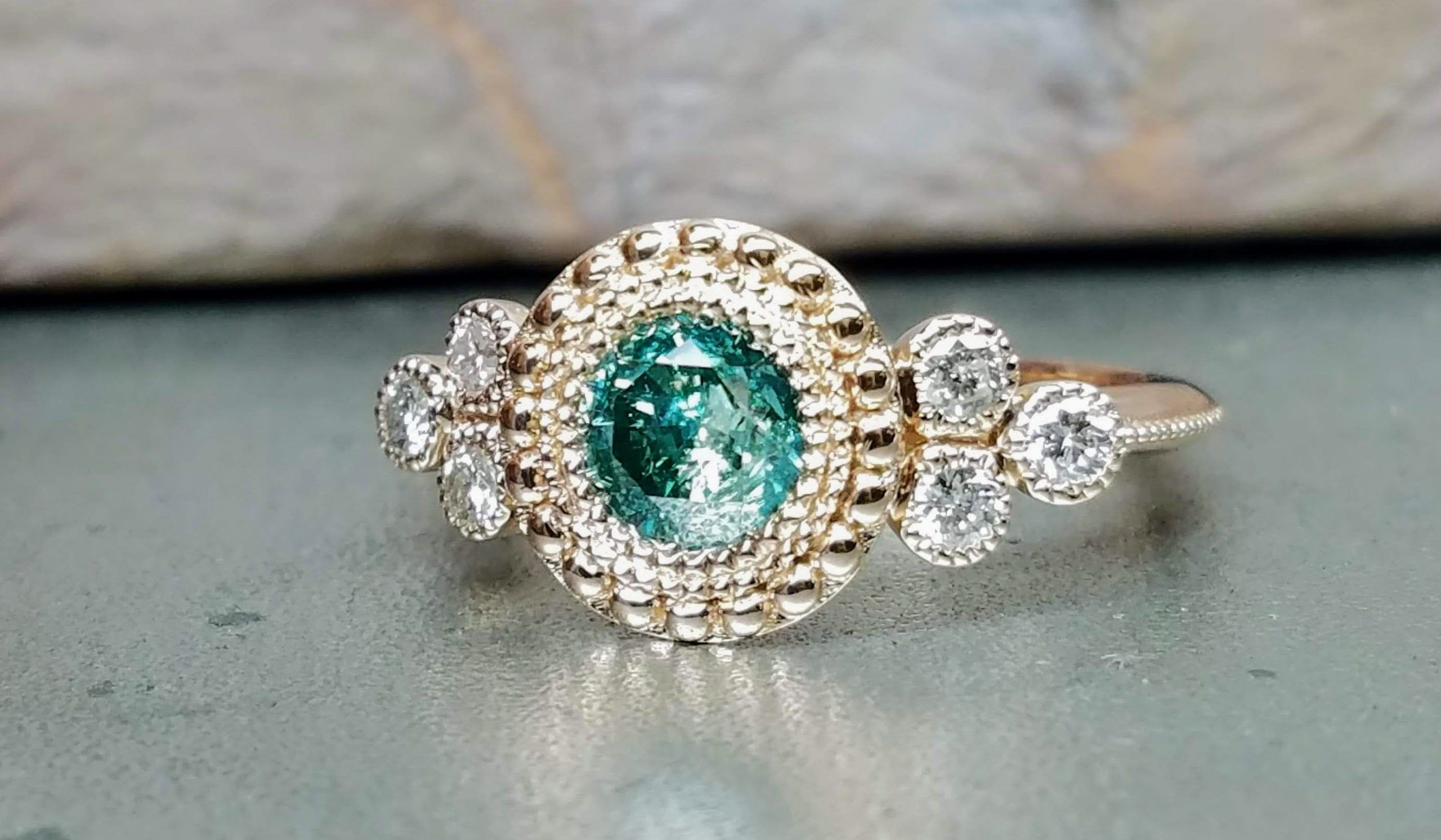 Green diamond engagement ring, Rose gold Victorian style engagement ring, Blue diamond engagement ring.#blue #diamond #engagement #gold #green #ring #rose #style #victorian