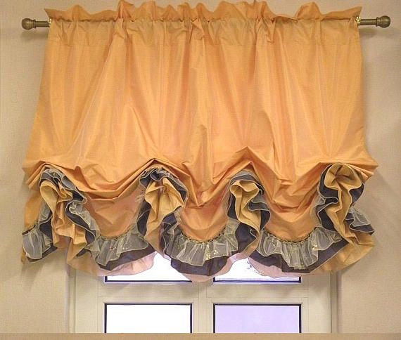 Rich Valance Ruffle Balloon Peach Beige Curtain Cafe Window French Cottage Style Beige Curtains Cafe Window