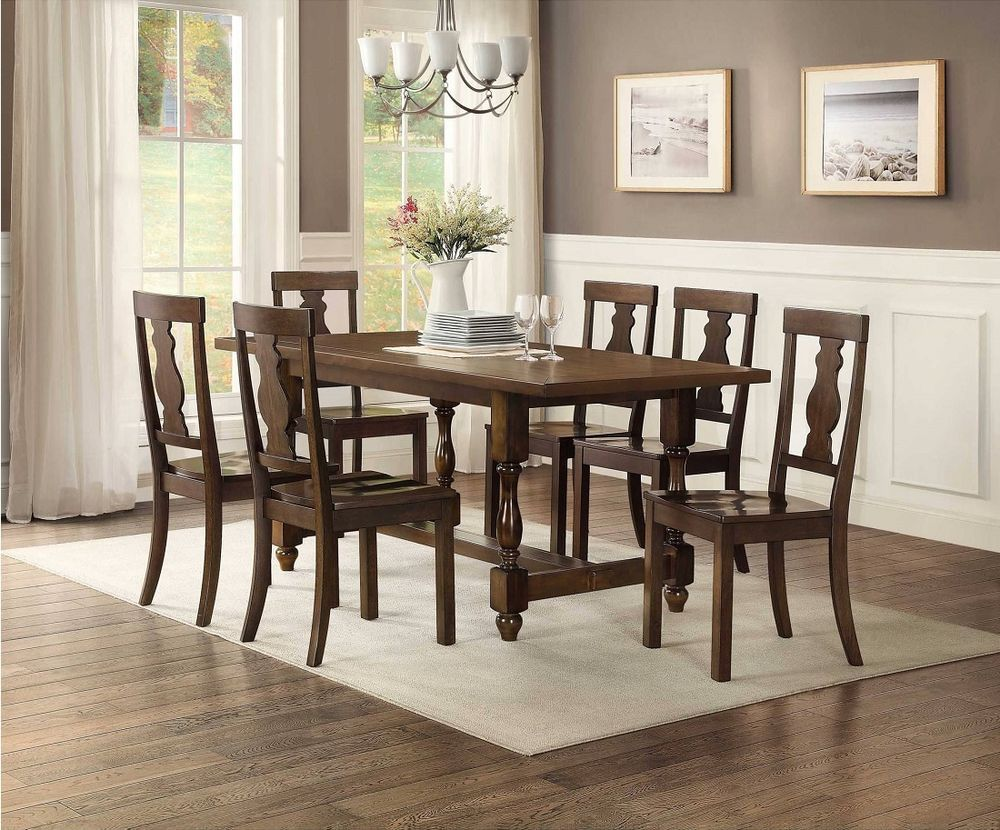Dining Table Set For 6 Dining Room 7 Piece Wood Furniture Table And Chairs Brown Family Dining Table Wood Dining Chairs Dining Chairs