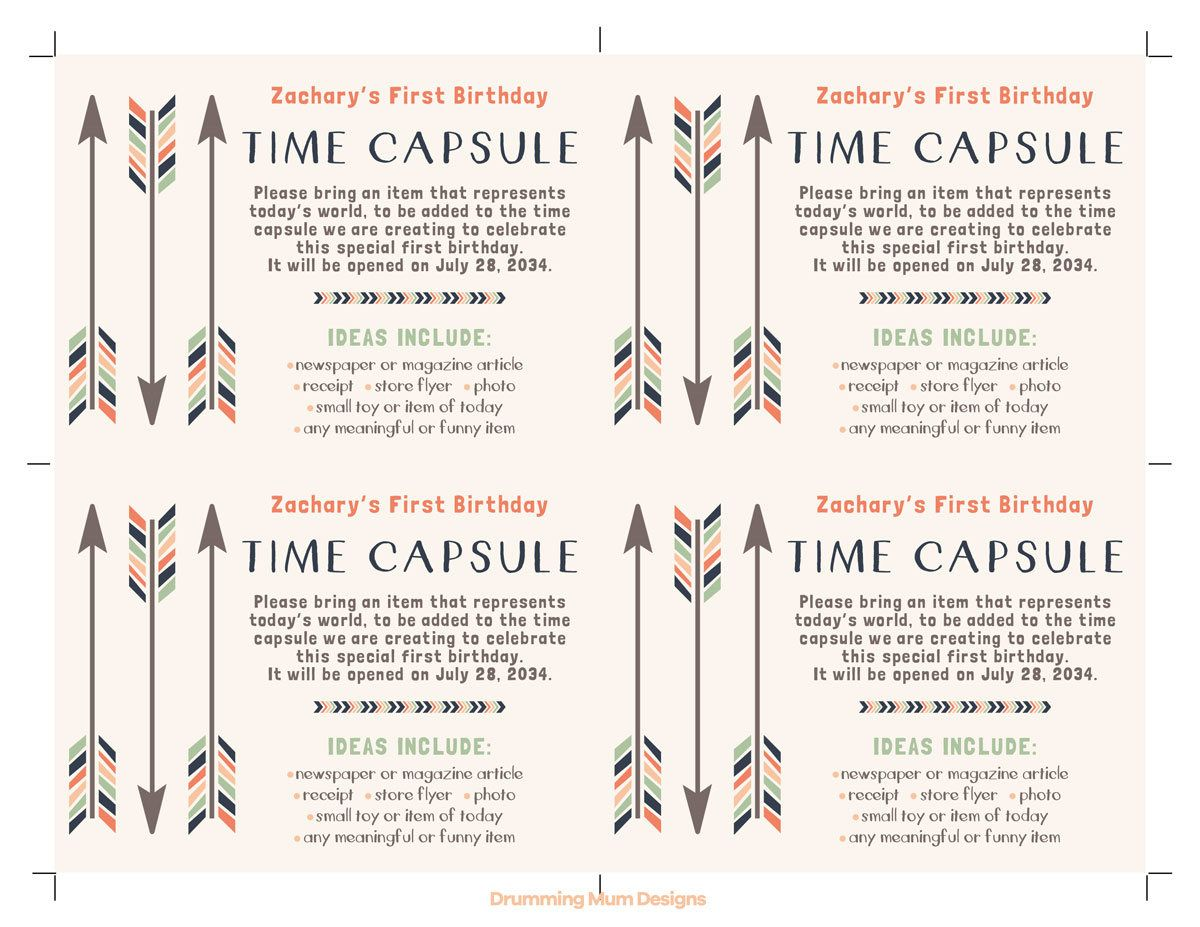 worksheet Time Capsule Worksheet tribal arrows printable time capsule sign cards predictions and invitation insert boy