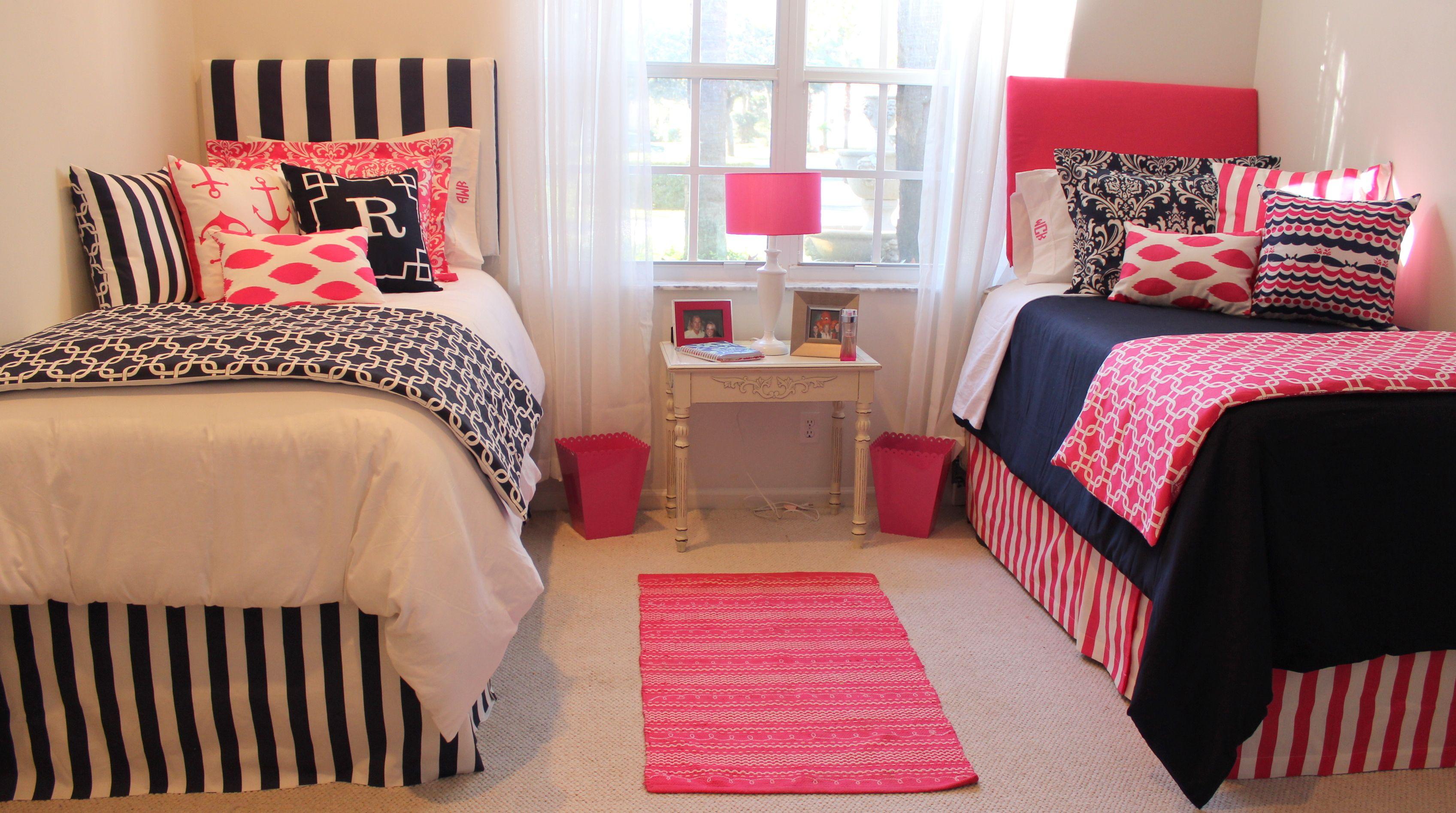 Preppy Dorm Bedding Nautical Room Pink And Navy Coordinated Ideas Www Decor 2 Ur Door Yess