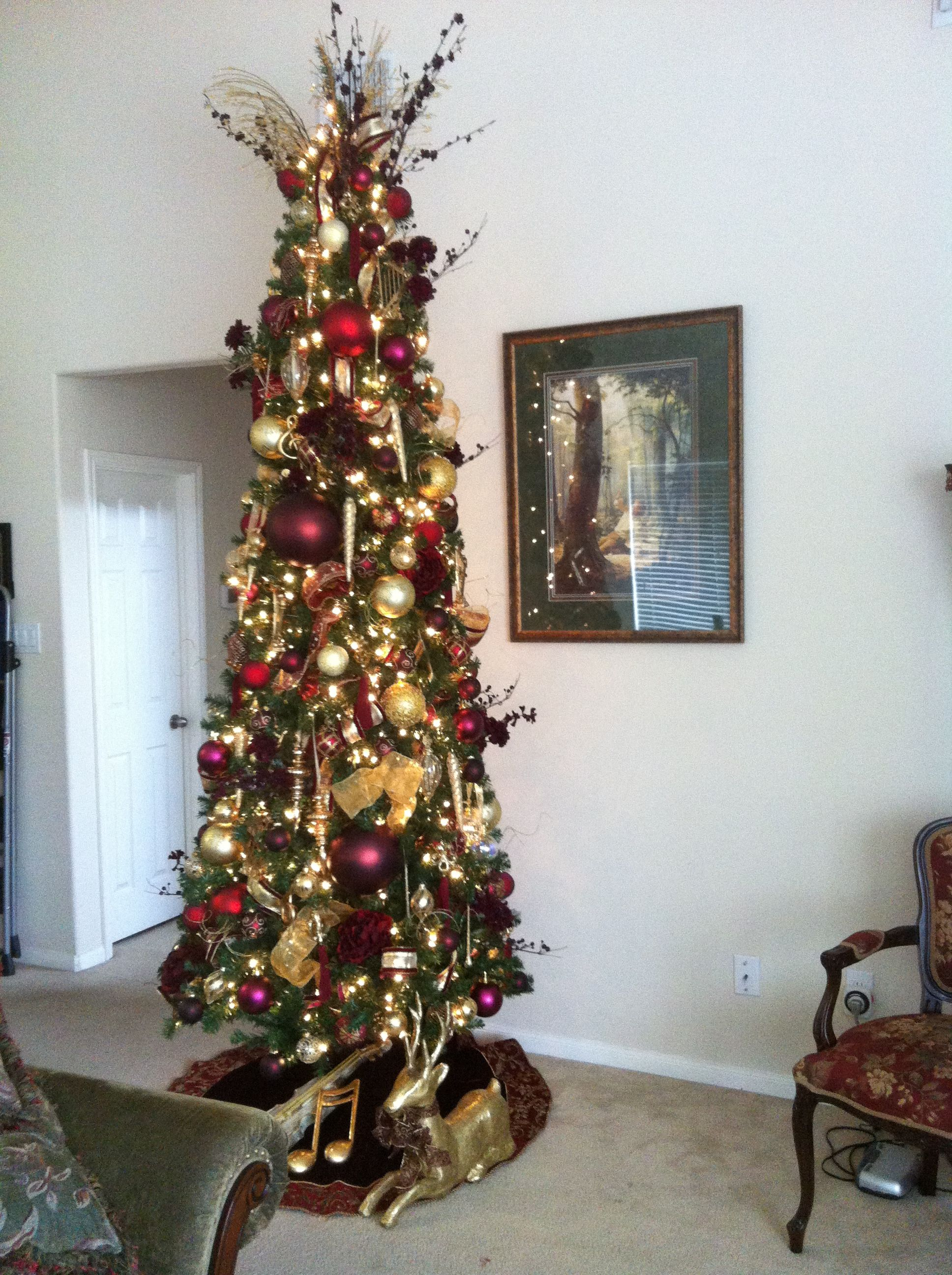 My 10 Ft Slim Fancy Living Room Christmas Tree In Burgundy Gold