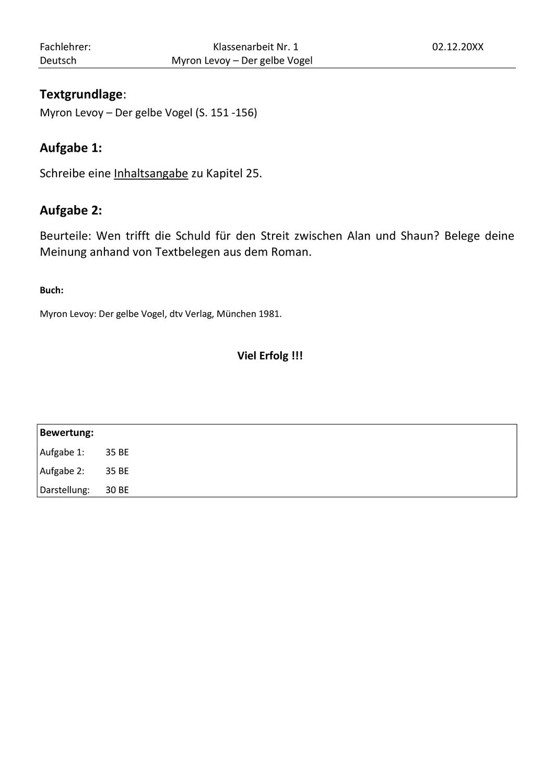 Der Gelbe Vogel Myron Levoy Klassenarbeit Mit Erwartungshorizont Unterrichtsmaterial Im Fach Deutsch Klassenarbeiten Erste Klasse Inhaltsangabe Schreiben