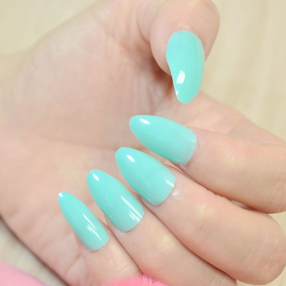 Full Cover Acrylic False Stiletto Nails Tips UV Medium Light Cyan ...