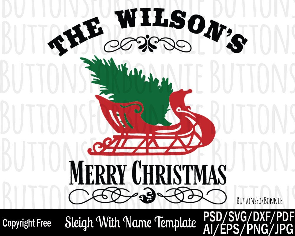 Vintage Sleigh Template Christmas Template Snow Christmas Tree Personalize Merry Christmas Designer Christmas Gifts Merry Christmas Vintage Personal Cards