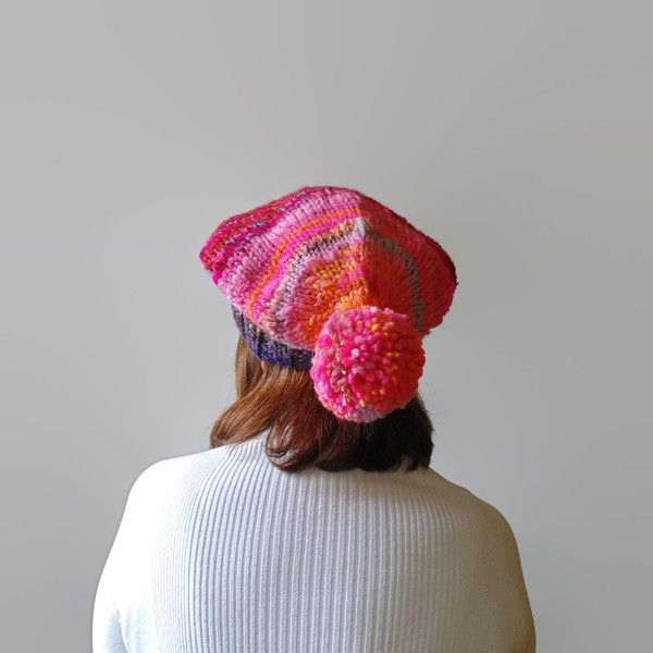 Hand Knit one-of-a-kind  Pink hat