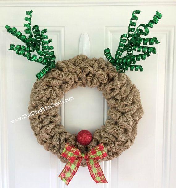 Reindeer burlap wreath  Burlap wreath  Christmas by TheCraftinBear