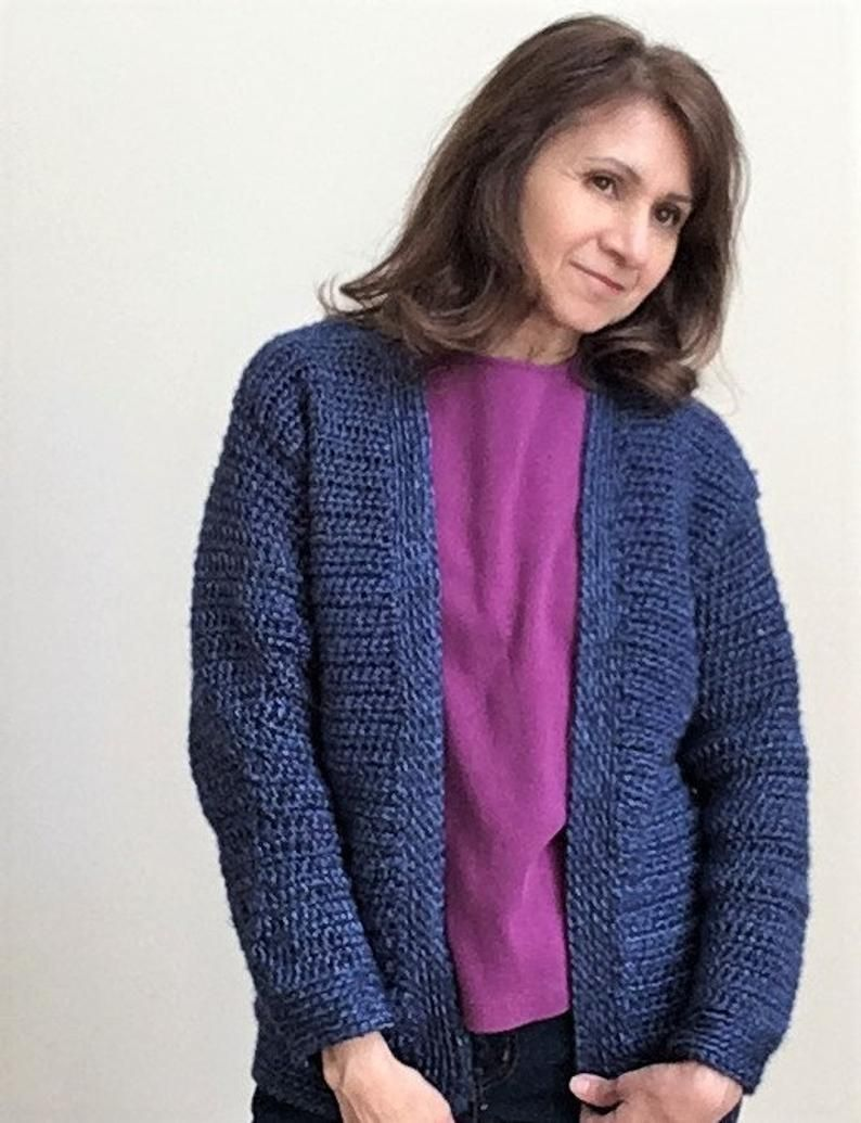 Crochet pattern for easy classic, long sleeve cardigan for ...