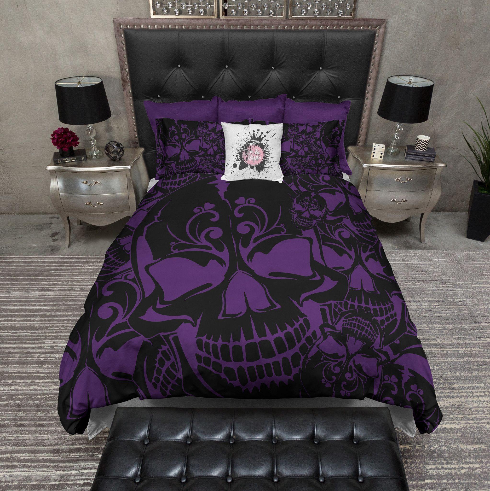 Purple And Black Collage Skull Duvet Bedding Sets #Luxurybeddingblack #Luxurybeddingpurple