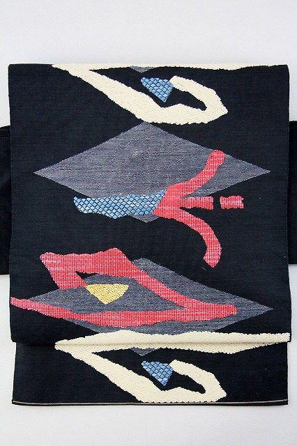 Black Hassun Nagoya Obi, Multiple Color Pattern / 黒地 菱と多色の抽象柄 お太鼓柄八寸名古屋帯   【リサイクル着物・アンティーク着物・帯の専門店 あい山本屋】#Kimono #Japan