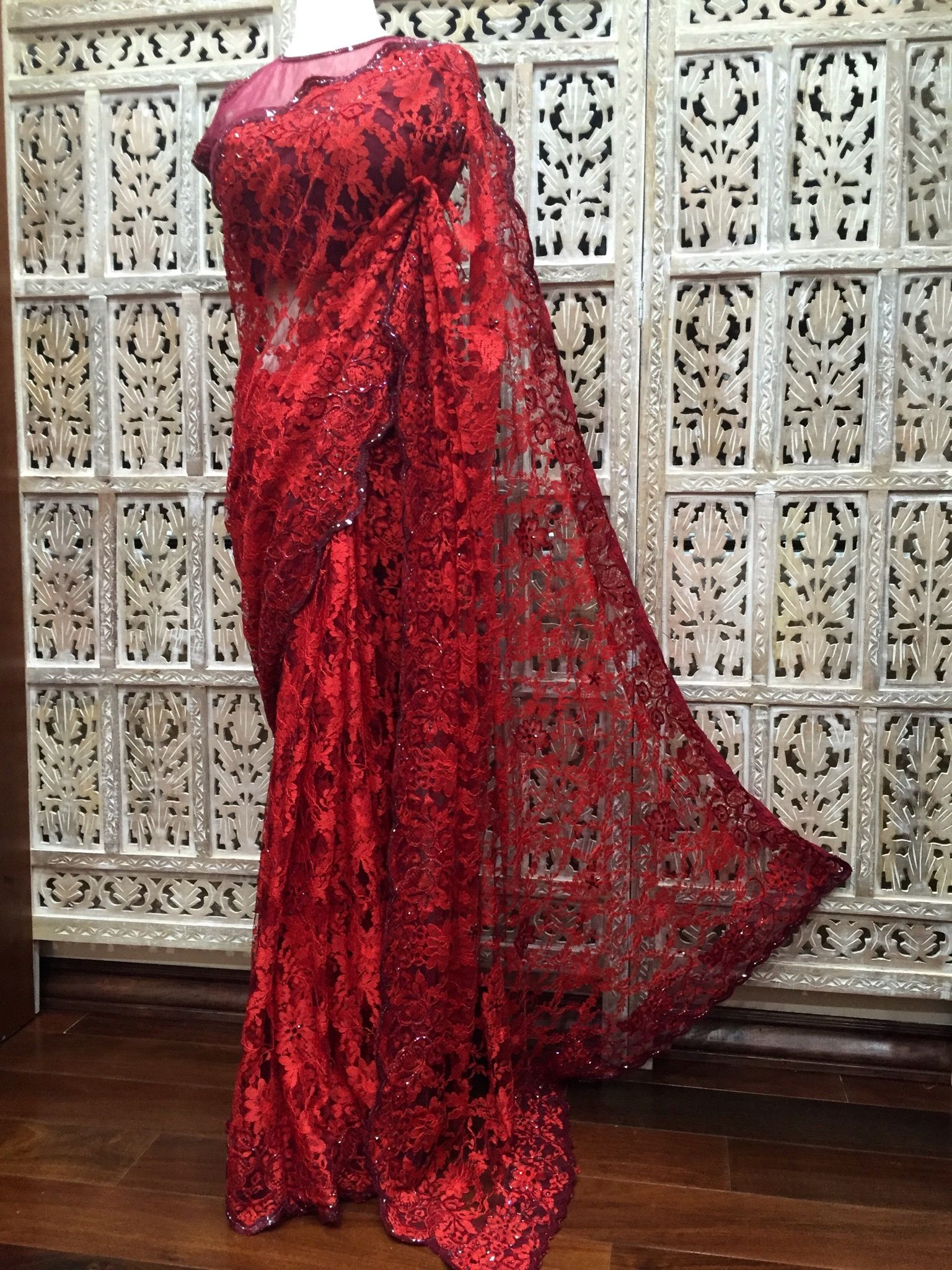 Scarlet Red And Burdy Dual Tone French Chantilly Lace Saree Embelished With Crystals Beads Sequin Custom Colors Available For More Info Contact