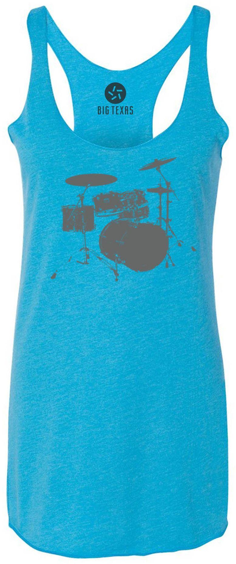 Drum Kit (Grey) Tri-Blend Racerback Tank-Top