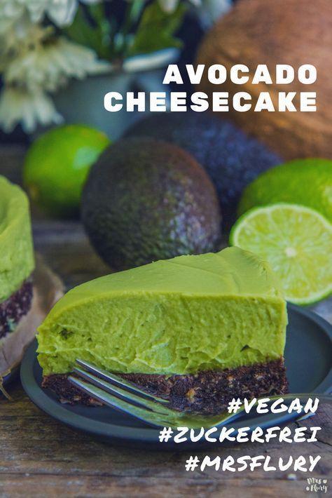 Avocado Cheesecake 2.0 - Mrs Flury - gesund essen & leben Avocado Cheesecake vegan, zuckerfrei, glu