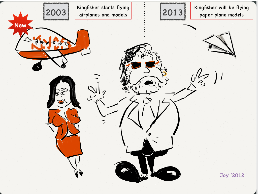 Kingfisher when it launched, Vijay Mallya promised that he would be flying 'models'. Very soon he was flying paper models.