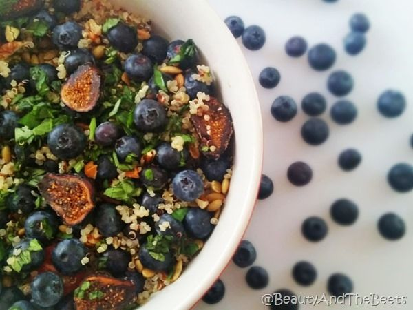 Blueberry and Fig Quinoa Salad with Lemon and Basil #blueberrytoss #FWCon