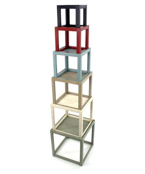 Stacked shelving.