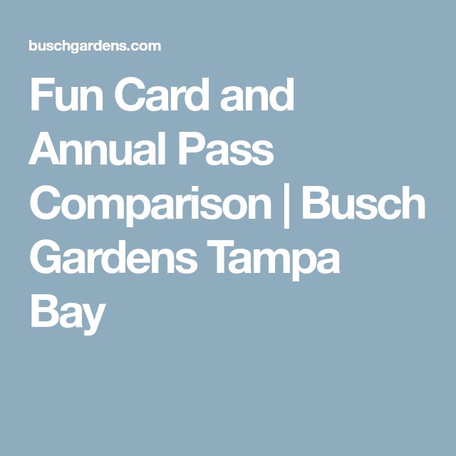 Charming Fun Card And Annual Pass Comparison | Busch Gardens Tampa Bay