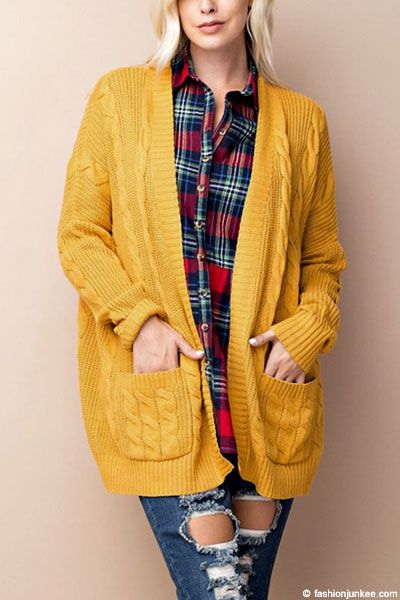 Cable Knit Long Sleeve Open Front Cardigan Sweater With Pockets