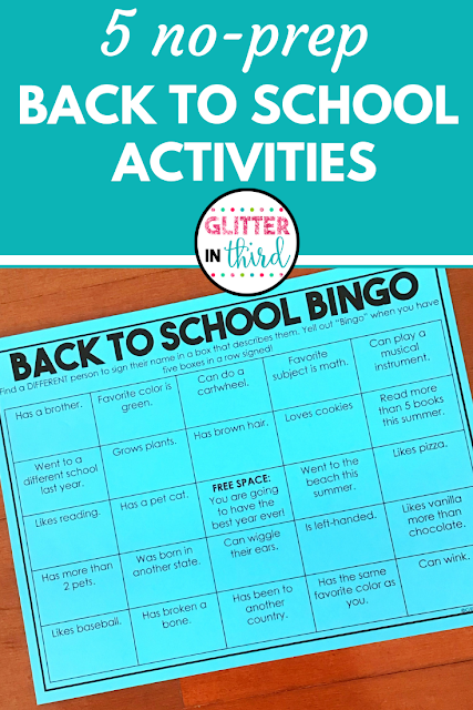 Simple and Easy Activities to Welcome Kids Back to School - Glitter in Third