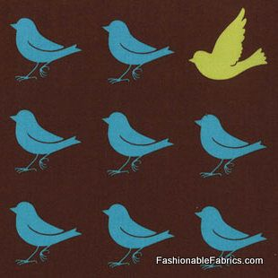Fabric... Oh Deer Bird Silouette Sparrow in Bark Brown by Momo for Moda Fabrics    I have this in green..