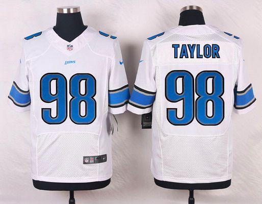 5dde7eca1 Men s Detroit Lions  98 Devin Taylor White Road NFL Nike Elite Jersey