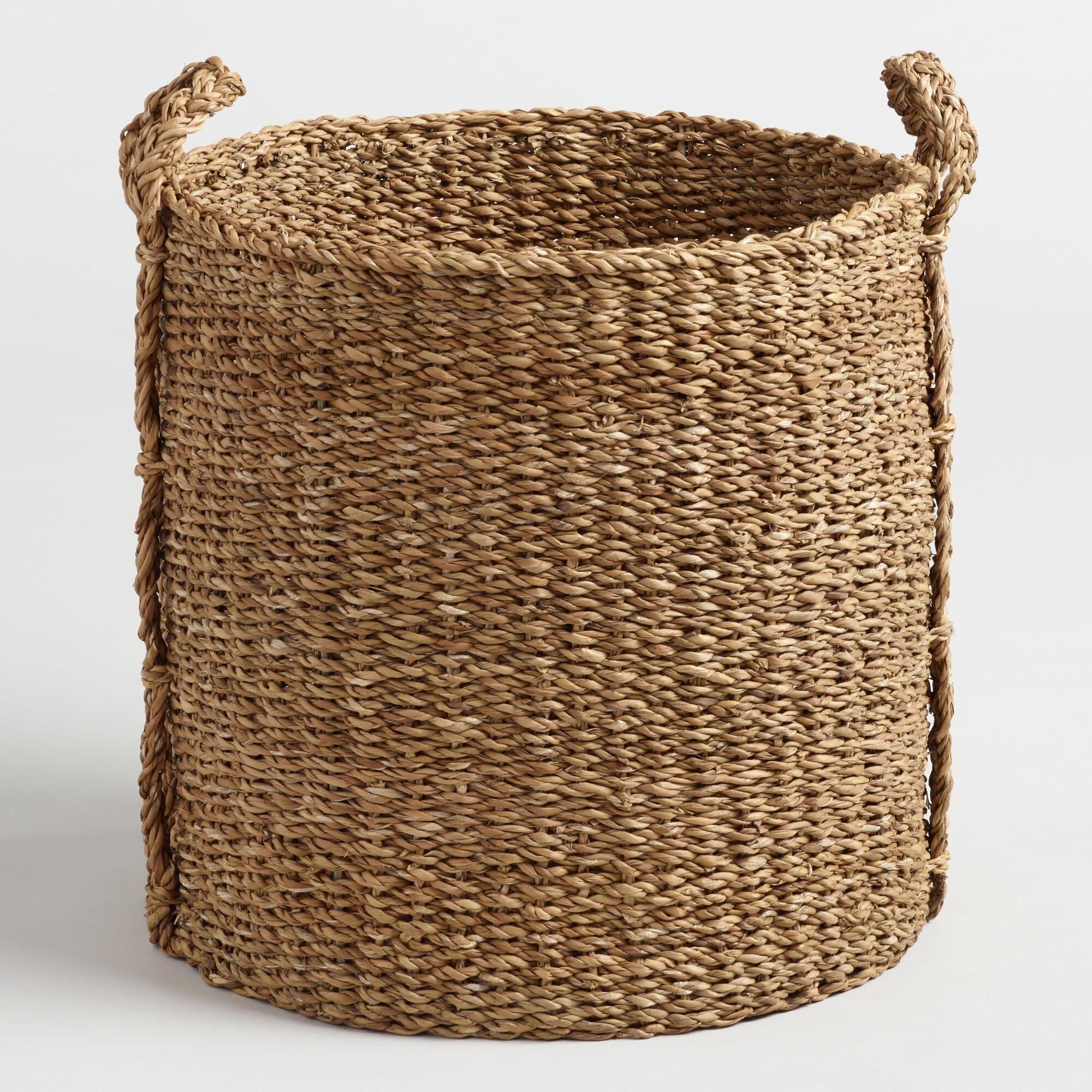 Large natural seagrass jade tote basket basket tote