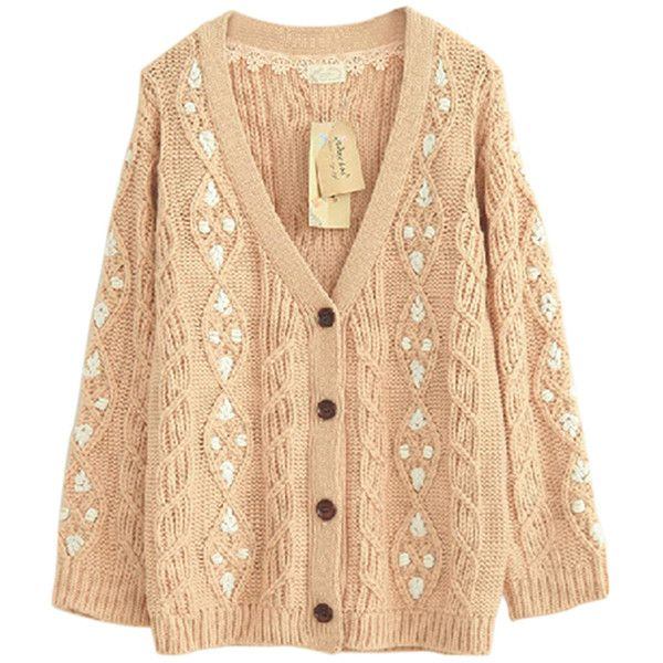Beige Pretty Ladies Smaller Ditsy Floral Cardigan Sweater Coat (88 ...