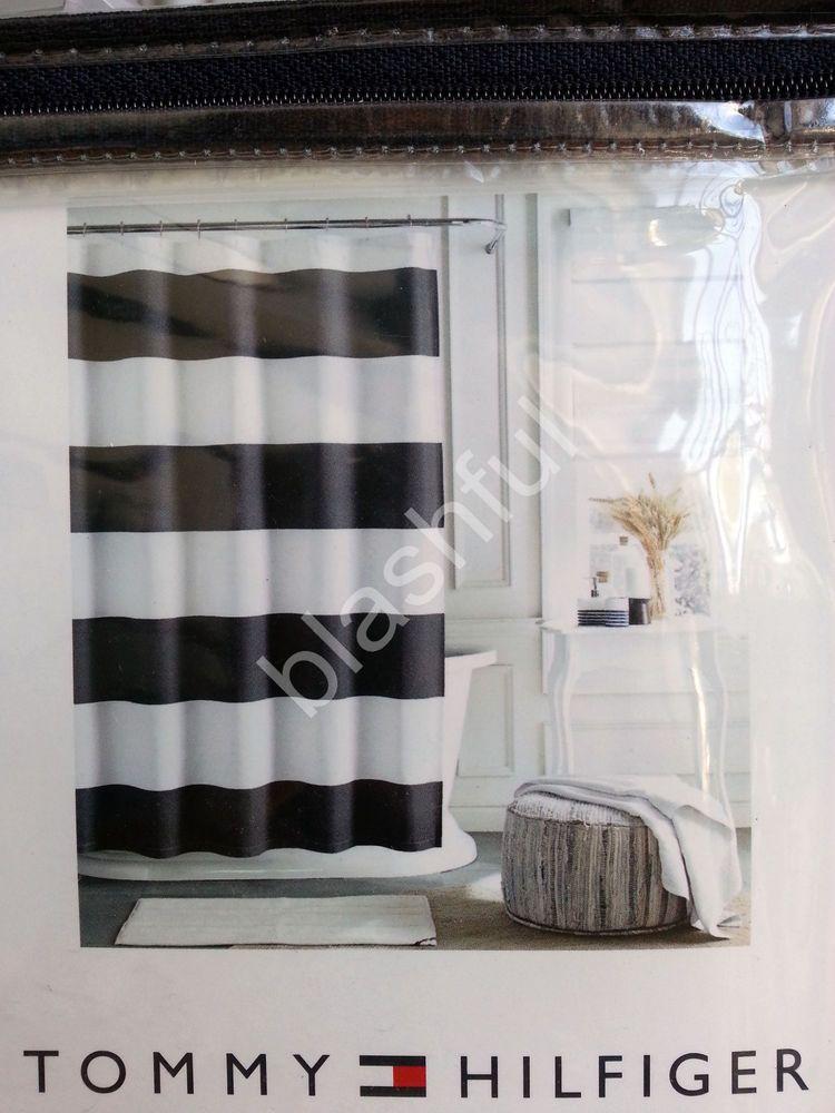New Tommy Hilfiger Cabana Stripe Gray White Shower Curtain 72x72 100 Cotton White Shower Curtain Striped Shower Curtains Curtains