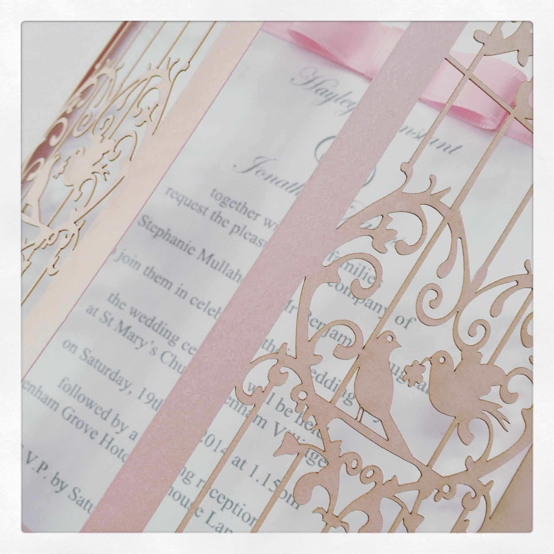 Birdcage laser cut wedding invitation in pale pink by Sew Unique