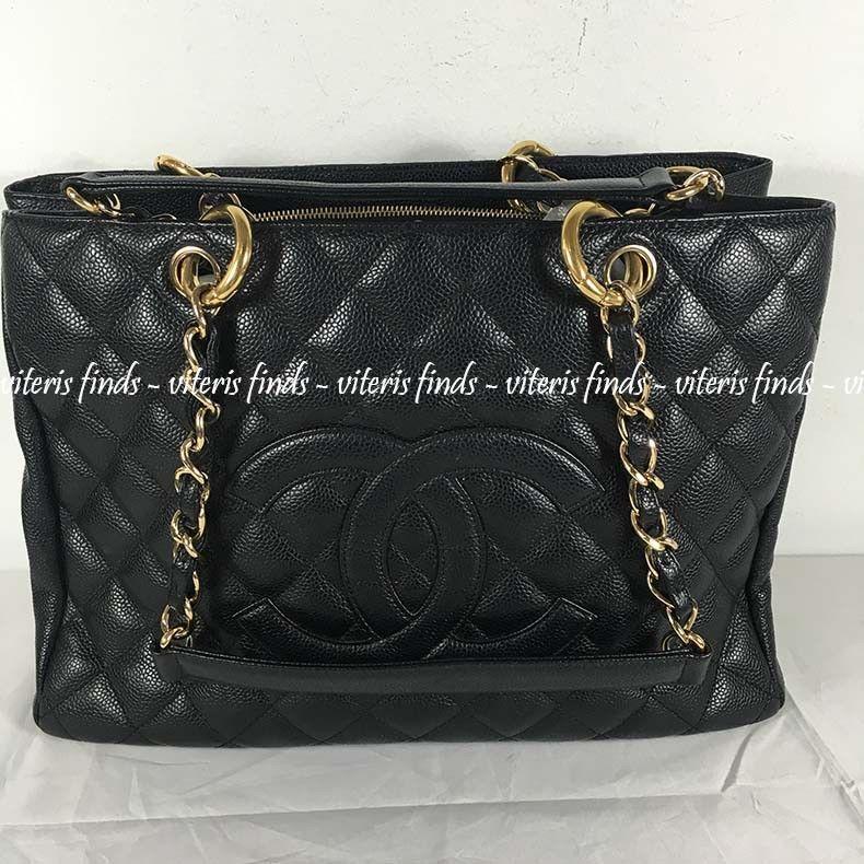 b6d125b6abc418 Chanel CC Grand Shopping GST Black Caviar Leather Shoulder Tote Bag