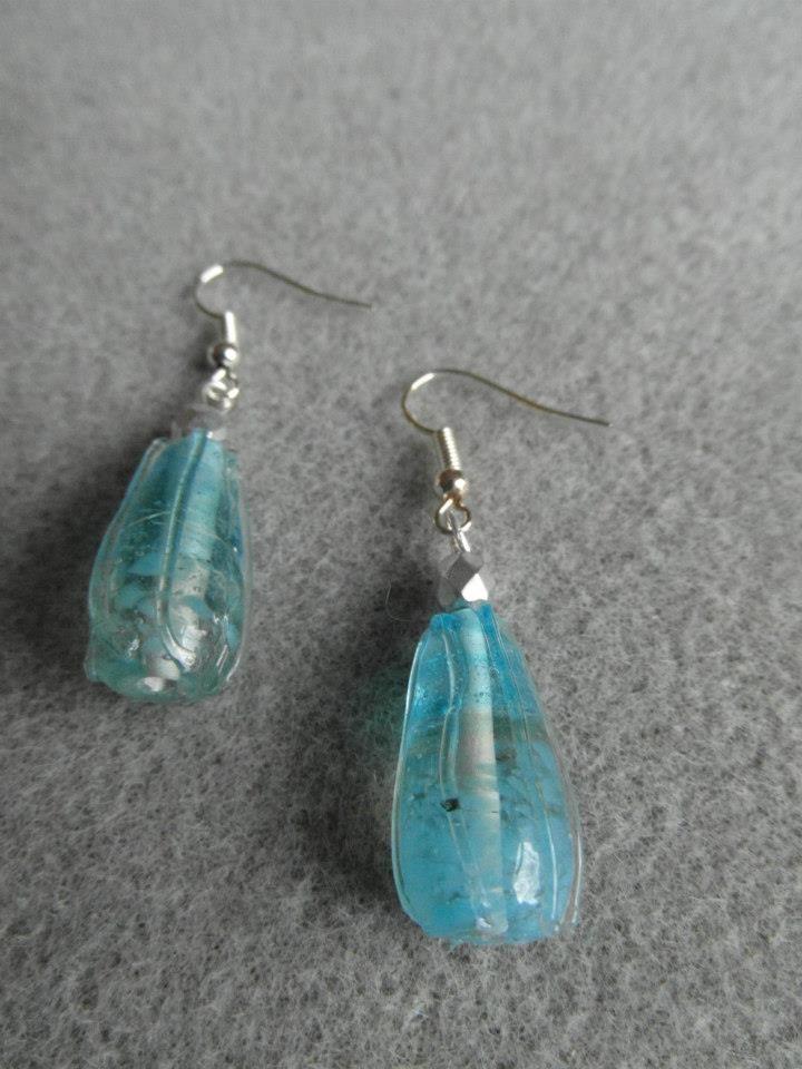 Glass drop earrings 'Sea Breeze