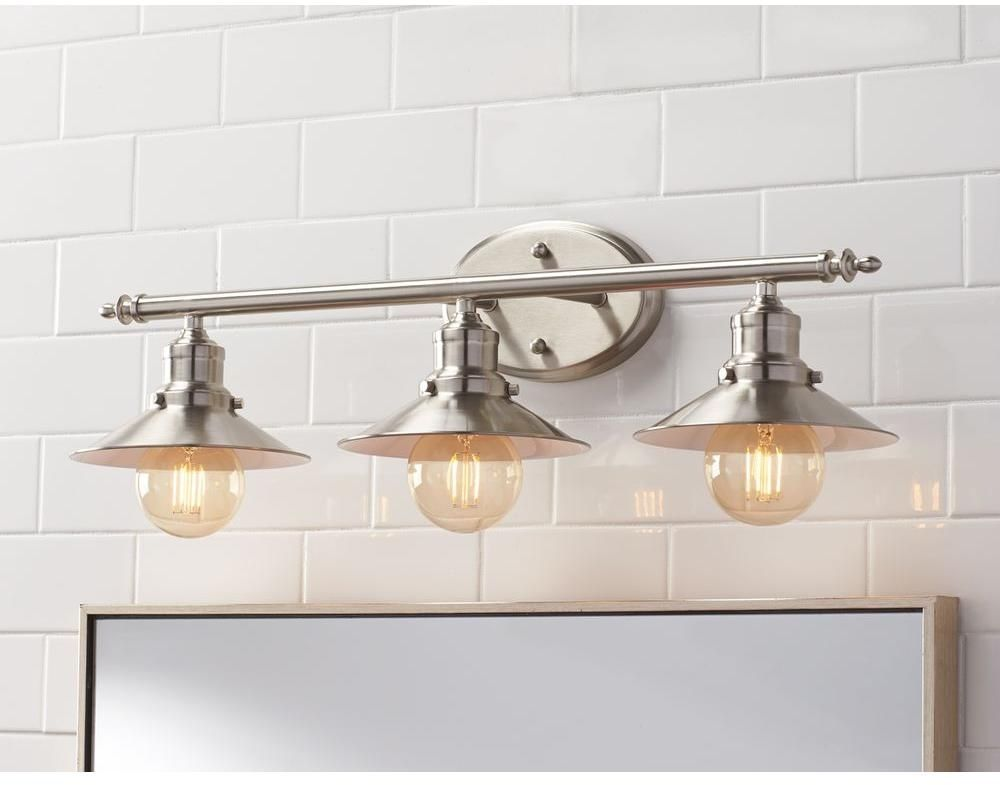 3 light brushed nickel retro vanity light above mirror