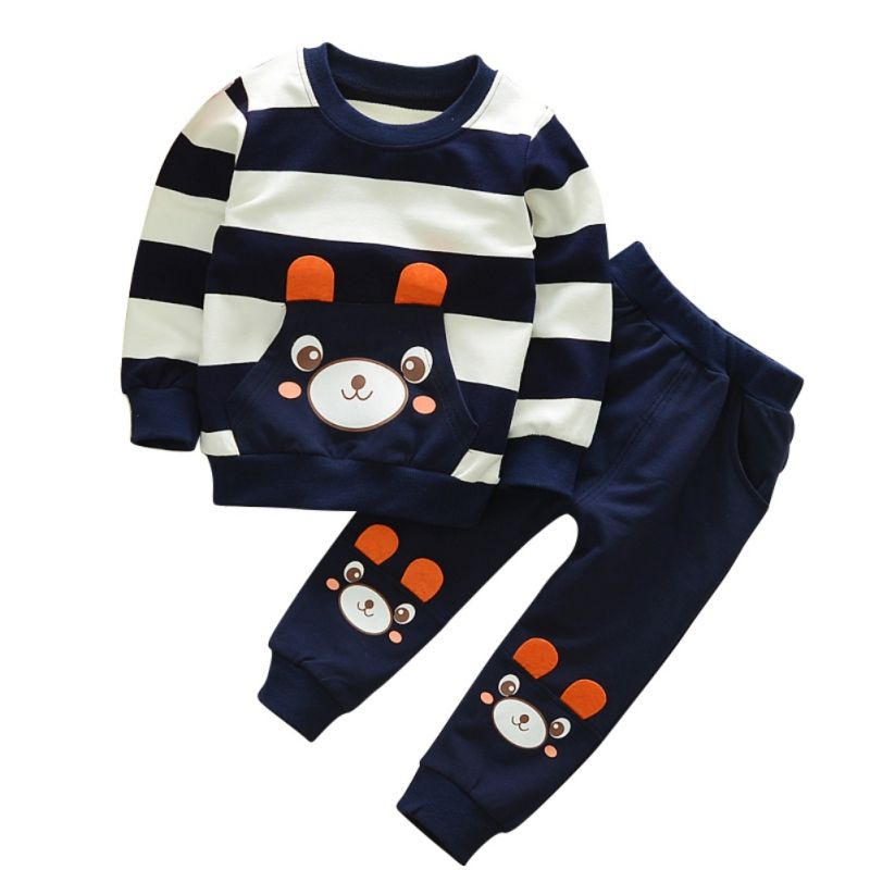 2pcs Baby Boys Kids Toddlers Stripe Bear T-shirt Tops+Pants Clothes Outfits Sets