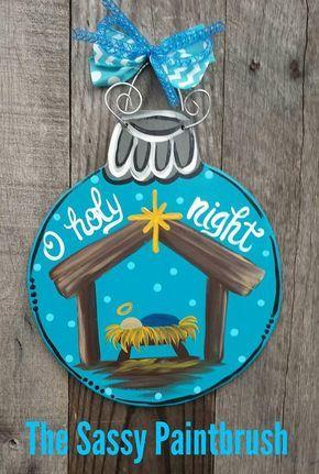 Photo of Wooden nativity ornament,  mini door hanger