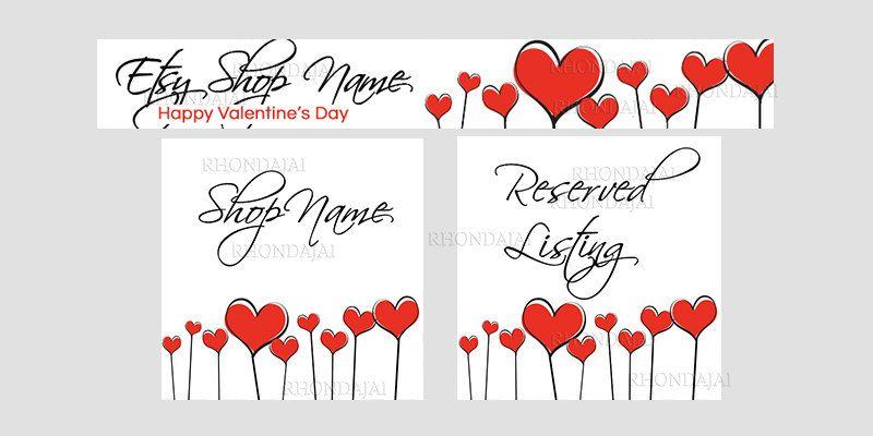 Valentine's Day Etsy Banner Set - 3 Piece Set - Etsy Valentine's