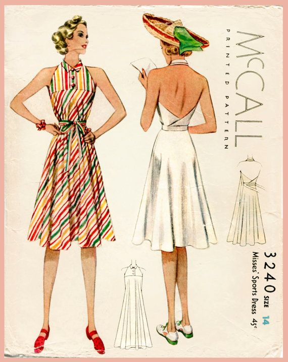 398b23832e 1930s 30s vintage women s sewing pattern halter dress beach wrap skirt bust  32 b32 reproduction English and French