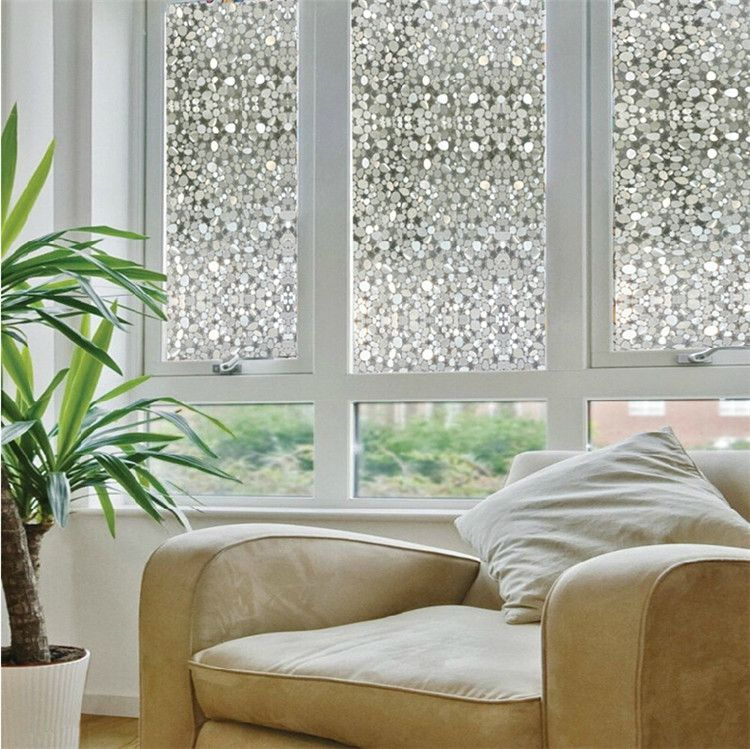 Opaque Privacy Decorative Glass Window Film Home Decor Static Self Adhesive Sticker Cobblestone Pebble
