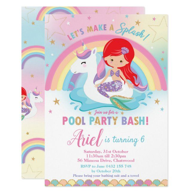Mermaid Unicorn Pool Party Birthday Red Hair Girl Invitation   Zazzle com - Unicorn pool party, Pool birthday party, Unicorn birthday invitations, Girl invitations, Unicorn invitations, Mermaid pool parties - Mermaid and Unicorn Pool Party Invitation, featuring a cute unicorn floatie and a pretty mermaid   Personalize this awesome Pool Party Invitation with your party details easily and quickly, simply press the customize it button to further rearrange and format the style and placement of the text   Exclusive design (c) The Happy Cat Studio