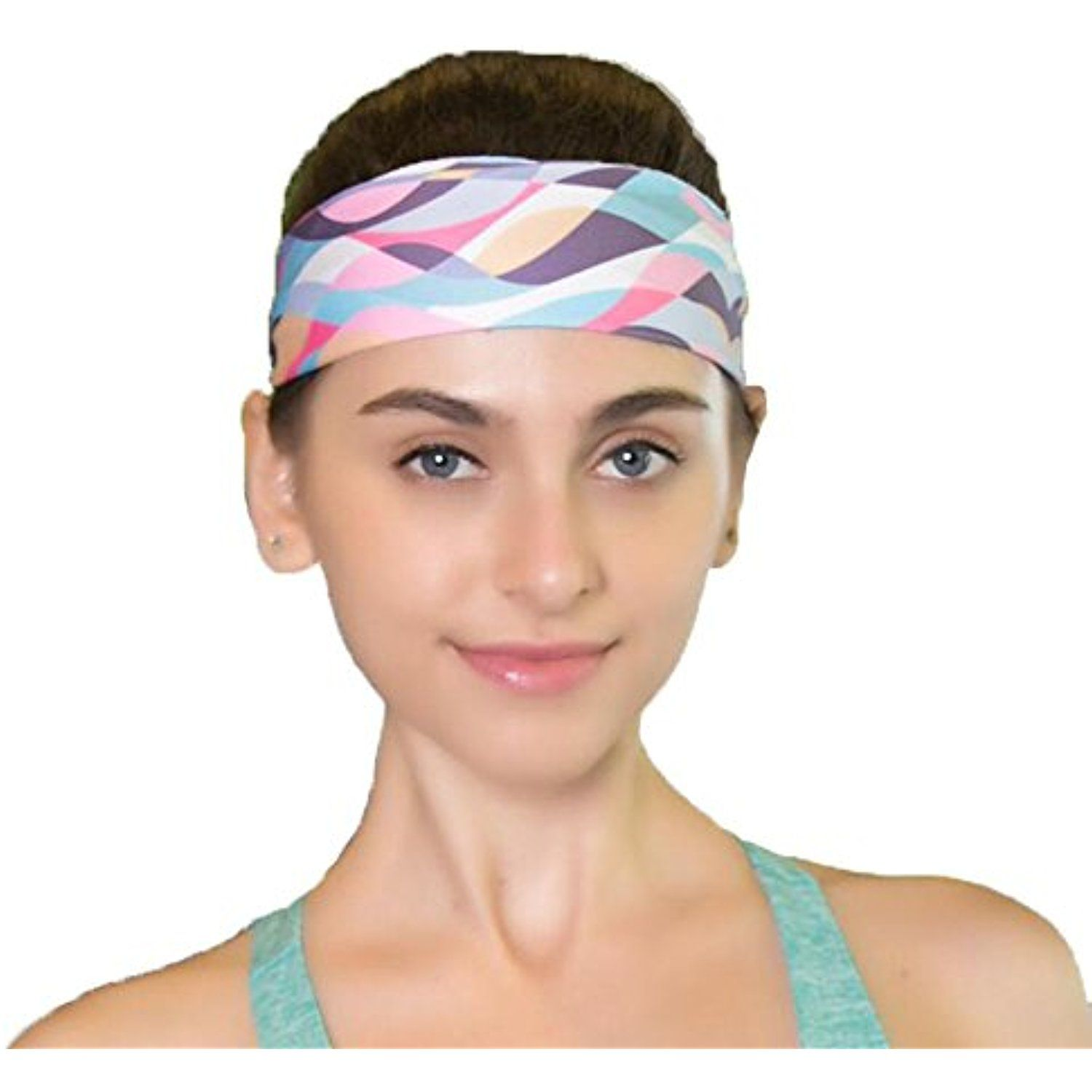 Sweat Wicking Stretchy Athletic Headband Yoga Headbands for Women - Wide  Non Slip Design for Running Workout and Fitness     Read more reviews of  the ... 9dfe45b872