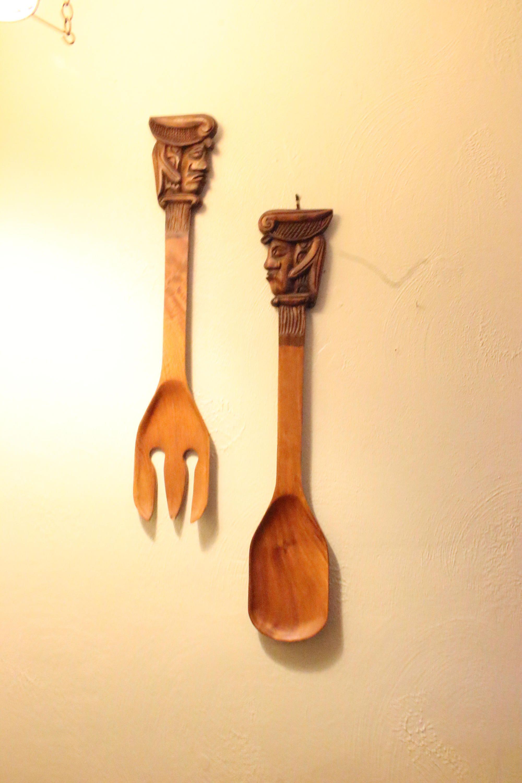 Vintage Large Kitchen Spoon & Fork Decor Carved Wood Tikki Heads ...